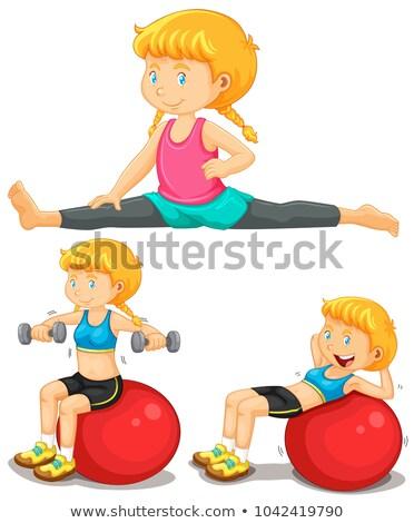 joven · yoga · ejercicio · aislado · blanco · deporte - foto stock © colematt