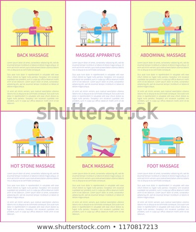 Foot and Back Massage Techniques Poster Set Vector Stock photo © robuart