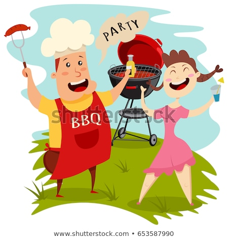 Hot Barbecue Party and Grid Vector Illustration Stock photo © robuart