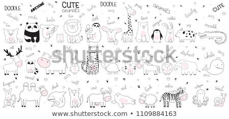 Doodle dier karakter haai illustratie vis Stockfoto © colematt