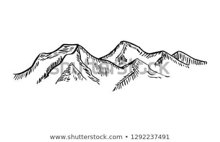 Dessinés à la main montagnes croquis illustration aventure logo Photo stock © sanyal