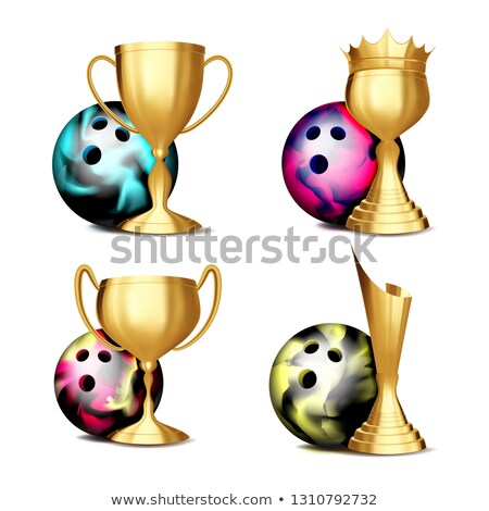 Bowling attribution vecteur boule de bowling or tasse Photo stock © pikepicture