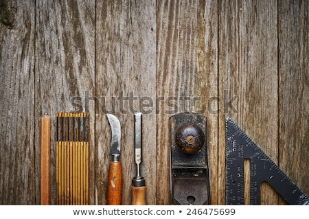 Woodworking tools on a wooden background with copy space Stock photo © Zerbor