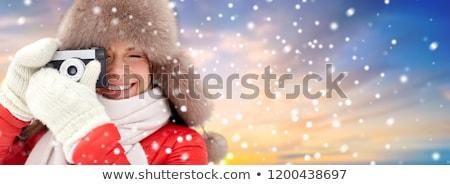 幸せ 女性 冬 毛皮 帽子 空 ストックフォト © dolgachov