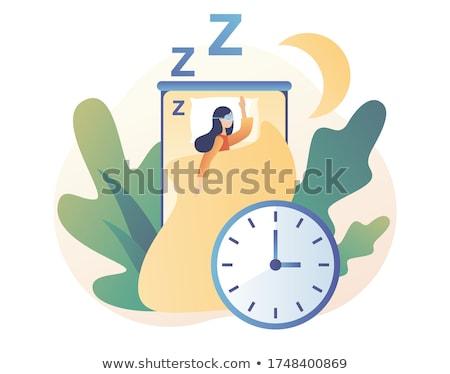 Sleep time flat icon set Stock photo © netkov1