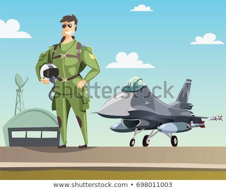 Rajz vadászrepülő pilóta mosolyog katonaság profi Stock fotó © Voysla