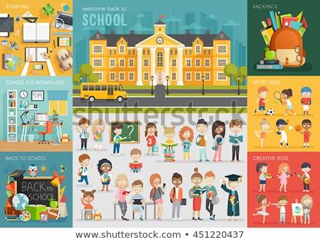 дети студент школьный автобус интерьер иллюстрация студентов Сток-фото © lenm