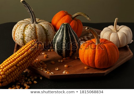 Ornamental corn cobs with fall gourds  Stock photo © sarahdoow