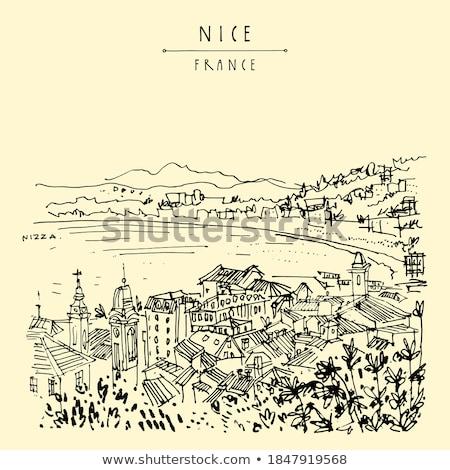 Nice. City of Nice tourist postcard of famous landmarks (with la Stock photo © xbrchx