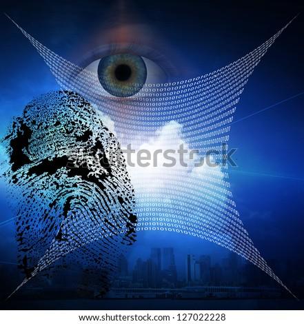 指紋 スキャン 未来的な 抽象的な 青 行列 ストックフォト © evgeny89