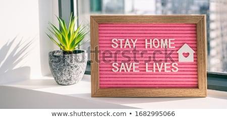 Koronawirus pobyt domu zapisać wirusowy social media Zdjęcia stock © Maridav