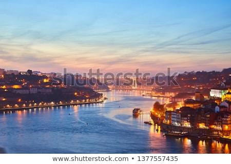 stad · nacht · Portugal · skyline · reflectie · rivier - stockfoto © travelphotography