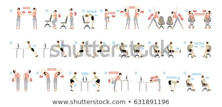 testmozgás · nő · ül · szék · fitnessz · sportok - stock fotó © phbcz