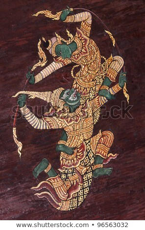wall art painting in temple thailand painting about ramayana ep stock photo © jakgree_inkliang