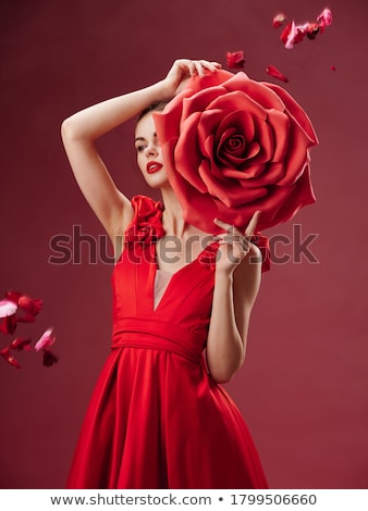 woman with beautiful face smelling a red rose stock photo © feedough