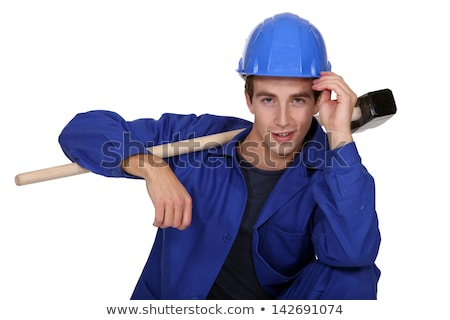 Man casual posing with sledge hammer Stock photo © photography33