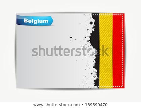 Stitched Belgium flag with grunge paper frame Stock photo © maxmitzu