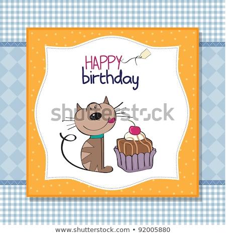 Doğum günü tebrik kartı kedi bekleme yemek kek Stok fotoğraf © balasoiu
