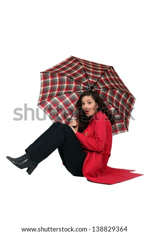 Woman blown over with her umbrella Stock photo © photography33