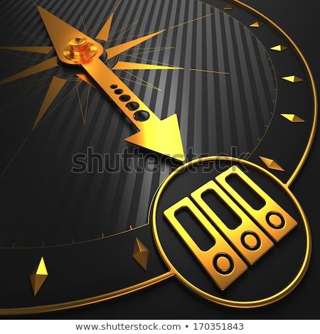 evaluatie · zwarte · gouden · kompas · naald · veld - stockfoto © tashatuvango