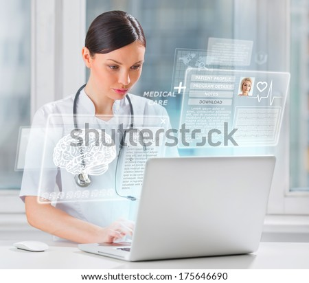 Female doctor scanning brain of patient with help of modern tech Stock photo © hasloo