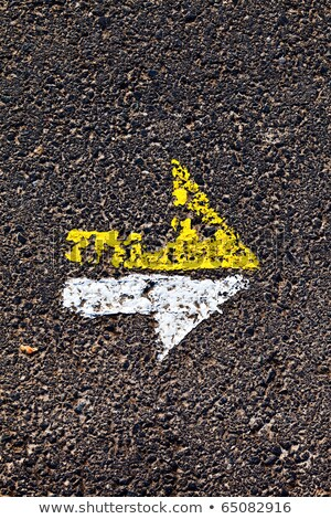 arrow in yellow and white on a paveway for orientation Stock photo © meinzahn
