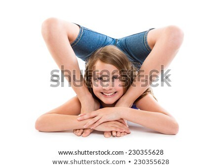 Flexible contortionist kid girl playing on white Stock photo © lunamarina