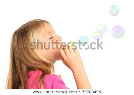 jongen · bubbels · gras · bloemen · voorjaar · gelukkig - stockfoto © compuinfoto