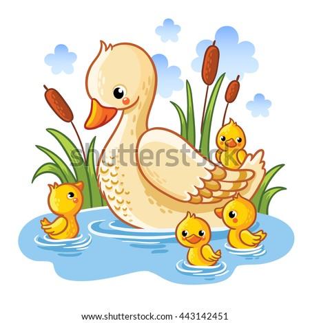 ördek · aile · yüzme · gölet · bahar · anne - stok fotoğraf © lightpoet