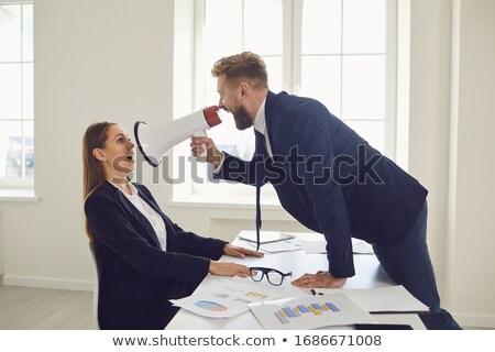 vonzó · üzletasszony · megafon · portré · nő · igazgató - stock fotó © wavebreak_media