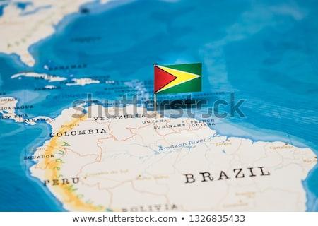 Térkép Guyana háttér kék vonal vektor Stock fotó © rbiedermann