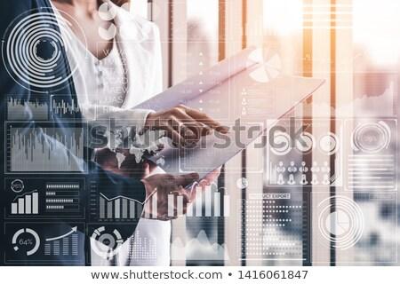 üzletasszony előadás statisztika trend pozitív üzlet Stock fotó © alphaspirit