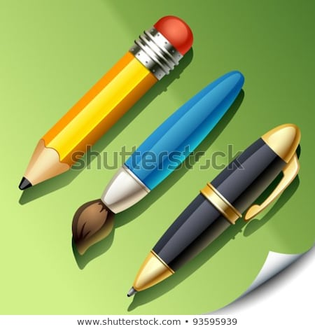 Paint Brush Golden Vector Icon Button Stock photo © rizwanali3d