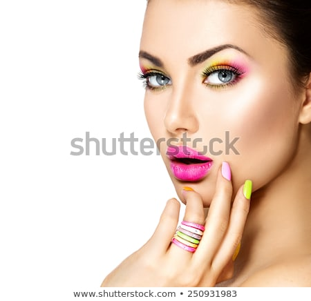 Green ring in pink lips Stock photo © lubavnel