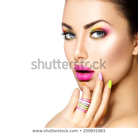 Verde anel lábios rosados mulher jovem Foto stock © lubavnel
