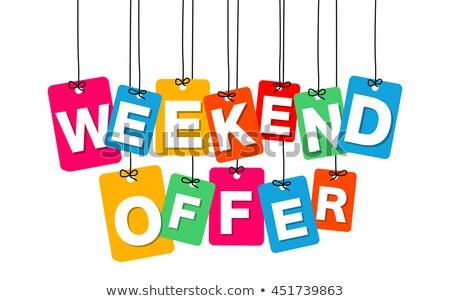 Weekend bieden Rood vector icon ontwerp Stockfoto © rizwanali3d