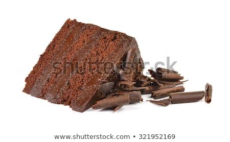 Darab csokoládés sütemény fehér tányér stock fotó Stock fotó © punsayaporn