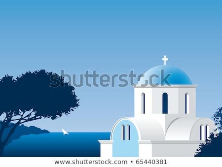 Tipik Yunan kilise beyaz Yunanistan gökyüzü Stok fotoğraf © deyangeorgiev