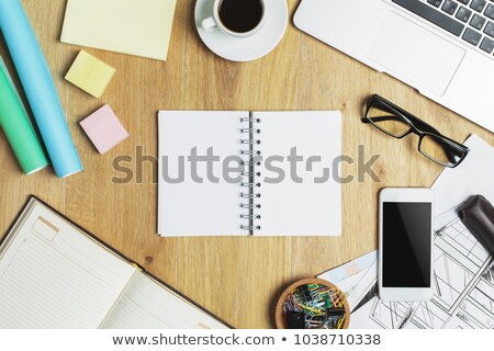 laptop, cup on table in office architecture project concept Stock photo © denisgo