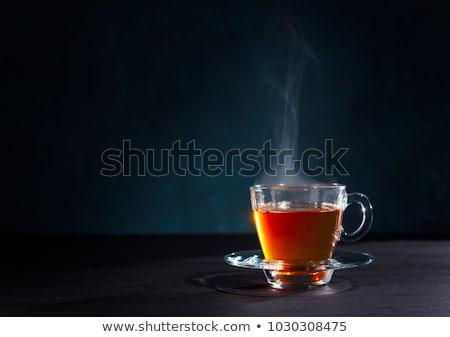 Copo fresco chá vidro de folhas Foto stock © dmitroza