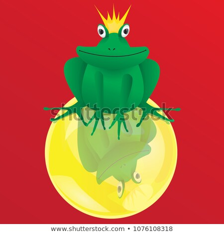 frog prince with crowns one sitting on gold ball stock photo © adrian_n