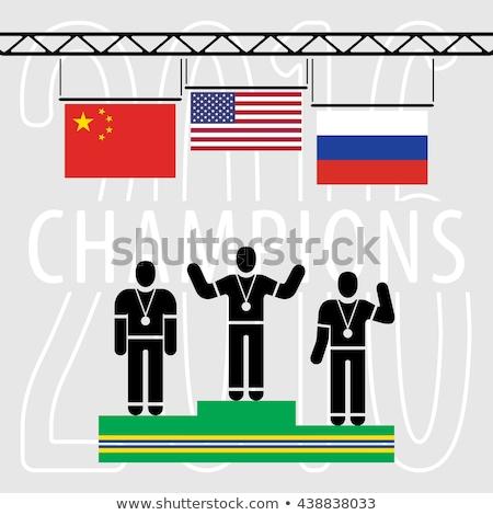 Sport podio colori bandiera isolato bianco Foto d'archivio © orensila