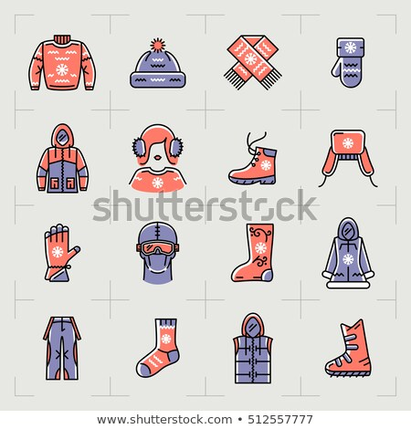 Stock photo: Women winter clothes flat vector icons set