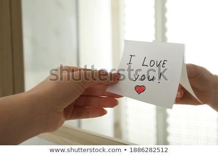 Amor texto bloc de notas colorido lápices negocios Foto stock © fuzzbones0