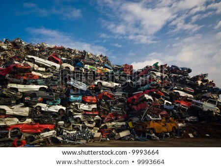 Scrap Car Recycle Yard with lots of old crushed cars  Stock photo © smuki