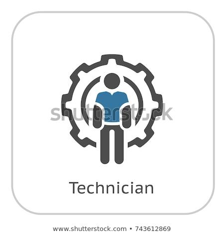 Technicien icône homme Cog roue génie Photo stock © WaD