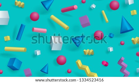 Modern abstract 3d memphis fashion greeting cards Stock photo © cienpies