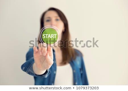 タッチスクリーン ビジネス女性 キー 孤立した 白 ストックフォト © hsfelix