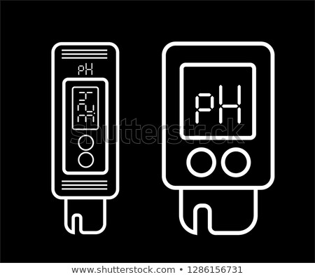 Acidity meter pH. The chemical tester. Icon of thin lines on a white background. Vector Stock photo © m_pavlov