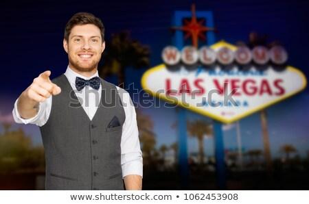 Homem terno indicação dedo Las Vegas diversão Foto stock © dolgachov